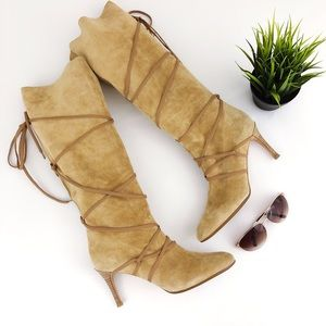 KORS MICHAEL KORS Suede Lace Wrap Slouch Boot 10